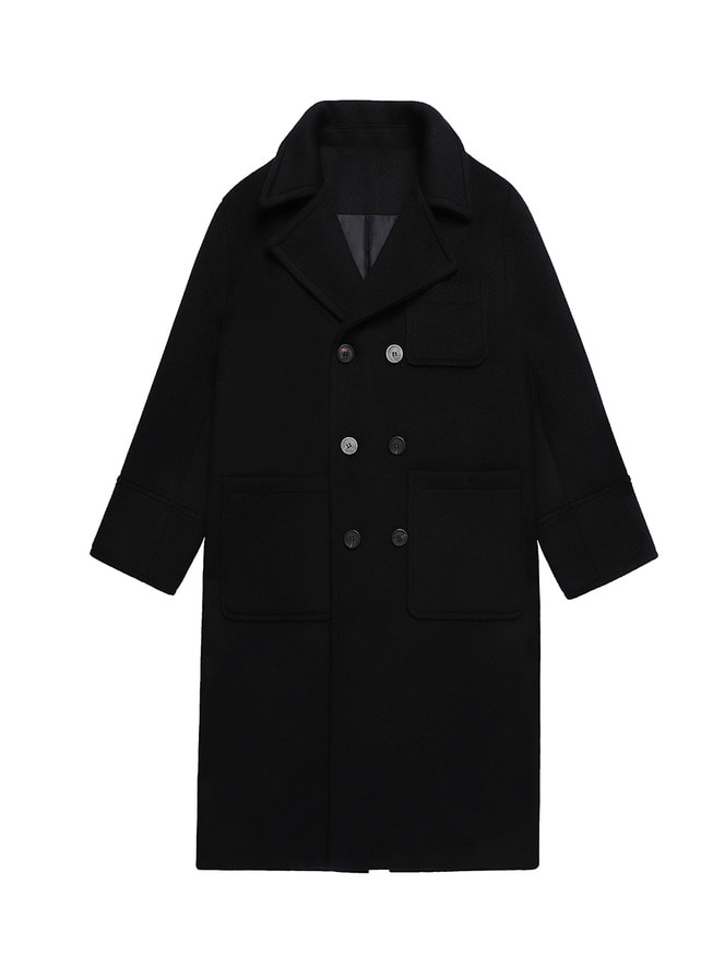 WOOL OVERSIZED COAT / BK