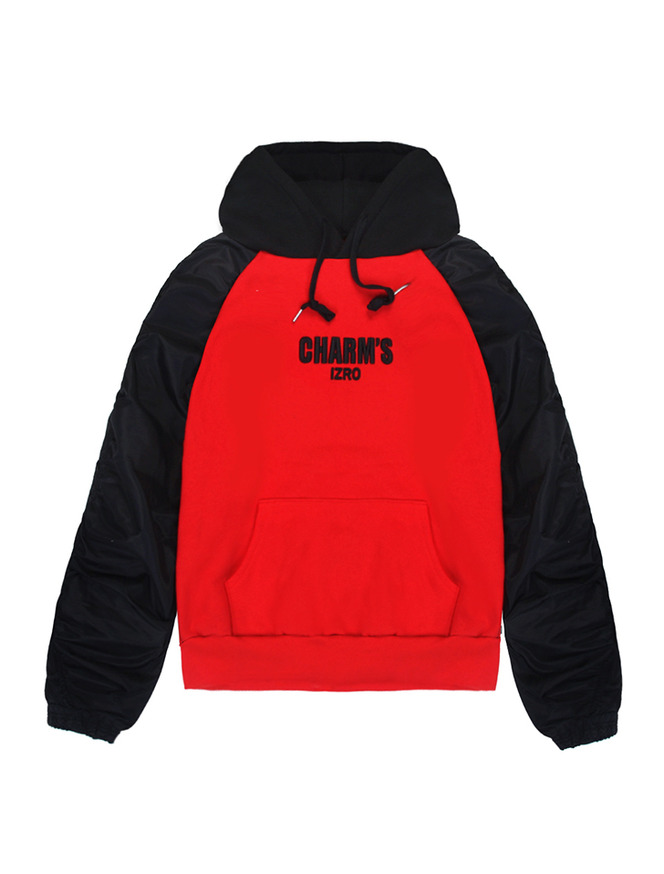 CHARM'S X IZRO SHIRRING HOODY_BK/RE